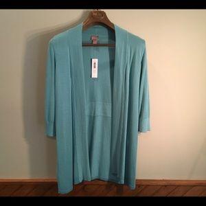 Chico's Aqua cardigan, 3/4 sleeves.  NWT Size 1.